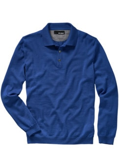 Merino-Poloshirt kobaltblau Detail 1