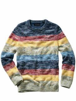 Inka-Pullover Streifen blau/gelb Detail 1