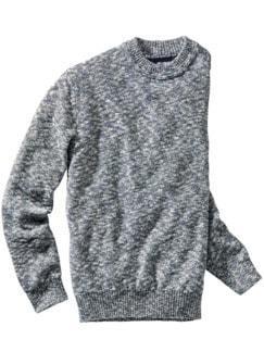 Bildrauschen-Pullover blau meliert Detail 1