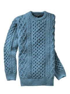 Kulturerbe-Pullover Irish sea blue Detail 1