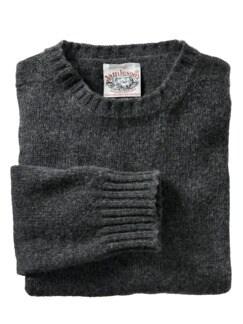 Shetland-Pullover moosgrau Detail 1