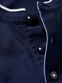 Stehkragenpolo Poseidon meerblau Detail 4