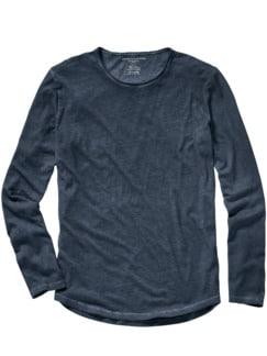 Majestic Tee Rundhals-Shirt denimblau Detail 1