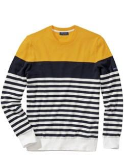 Pullover Modene Streifen marine/gelb Detail 1