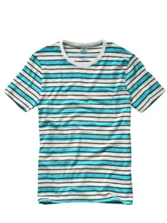 Textmarker-Shirt Cistan Streifen azur/weiß Detail 1