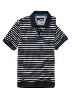 Polo-Shirt Zeus Streifen tiefblau Detail 1