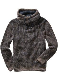 Cowl-Neck-Pullover blau/gelb Detail 1