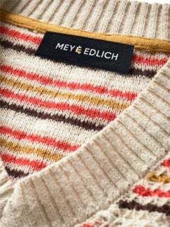 Bienenwaben-Pullover Streifen natur/honig/rot Detail 3