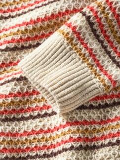 Bienenwaben-Pullover Streifen natur/honig/rot Detail 4