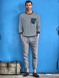 Jan Maat Pullover Streifen blau/weiß Detail 2