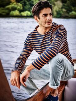 Bretagne-Shirt Streifen blau/orange Detail 2