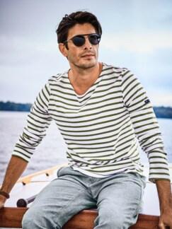 Bretagne-Shirt Streifen weiß/khaki Detail 2