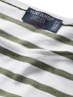 Bretagne-Shirt Streifen weiß/khaki Detail 3