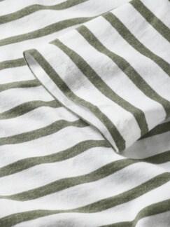 Bretagne-Shirt Streifen weiß/khaki Detail 4