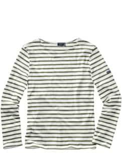 Bretagne-Shirt Streifen weiß/khaki Detail 1