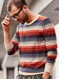 Wüstenschiff-Pullover Streifen beige/rot/blau Detail 2