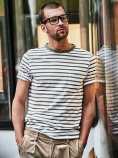 Bretagne-T-Shirt Gordes Streifen weiß/khaki Detail 4