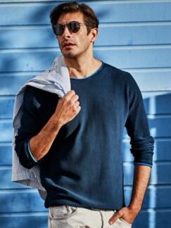 Schmirgel-Pullover blau Detail 2