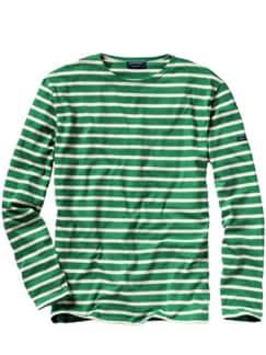 Bretagne-Shirt Streifen grün/weiß Detail 1