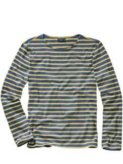 Bretagne-Shirt Streifen blau/gelb Detail 1