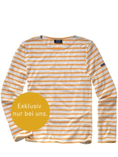 Bretagne-Shirt Streifen grau/orange Detail 1