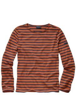 Bretagne-Shirt Streifen rost/marine Detail 1