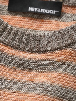 Viel-Viel-Leinenpullover Streifen grau/orange Detail 3