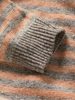 Viel-Viel-Leinenpullover Streifen grau/orange Detail 4