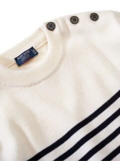 Pullover Rochefort Streifen weiß/blau Detail 3