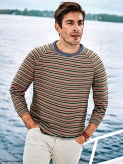 Schlaufen-Sweatshirt Streifen türkis Detail 2