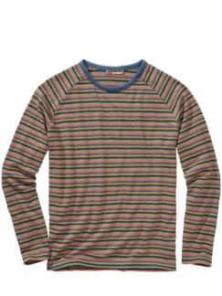 Schlaufen-Sweatshirt Streifen türkis Detail 1