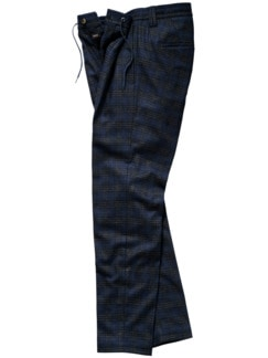 Cidata-Anzughose Karo blau/grau Detail 1