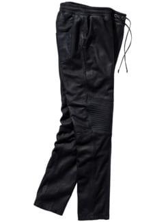 Leder-Joggpants schwarz Detail 1