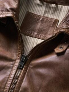 Lederjacke Dr. Jones vintage-brown Detail 3