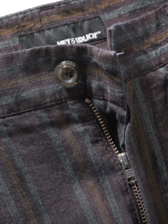 Yollu-Leinenhose Streifen violett Detail 4