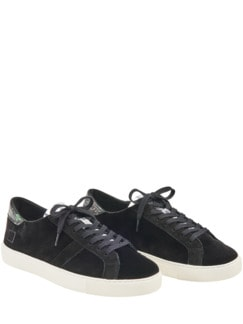 Low Top Samt-Sneaker schwarz Detail 1