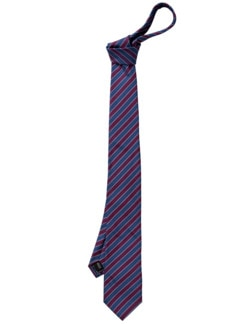 Regimental Tie Streifen blau/bordeaux Detail 1