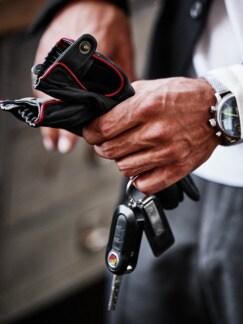 Silverstone-Lederhandschuhe schwarz Detail 2