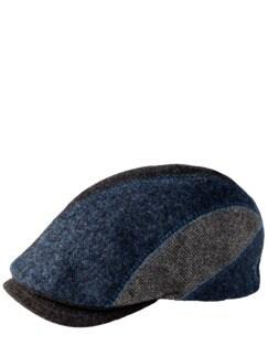 Patchwork-Kappe blau/grau Detail 1