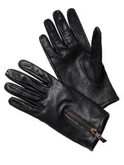 Lederhandschuhe schwarz Detail 1