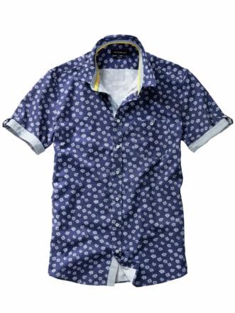 Blaudruck-Hemd blau/weiß Detail 1