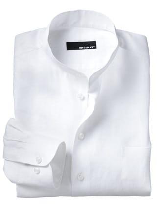Zephir-Leinenhemd weiß Detail 1
