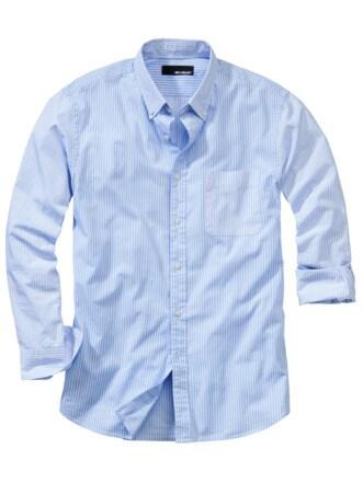 Streifenkunsthemd Streifen blau/weiß Detail 1