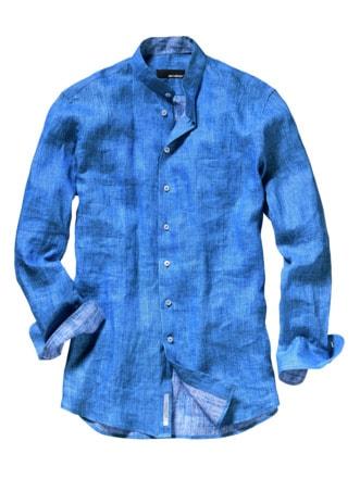 Zephir-Leinenhemd blau Detail 1