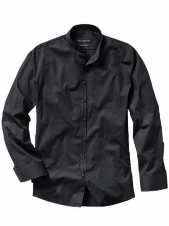 Piping-Hemd schwarz Detail 1