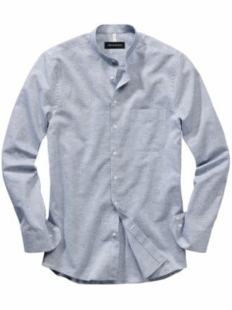 Hanseatisches Stehkragenhemd Streifen blau/weiß Detail 1