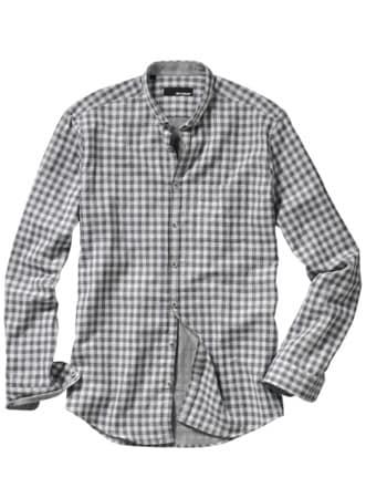 Gutes-Gefühl-Hemd Karo grau/weiß Detail 1