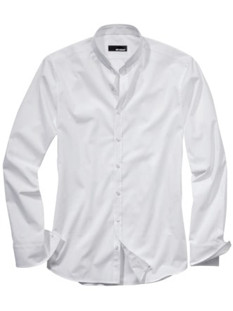 Piping-Hemd weiß Detail 1