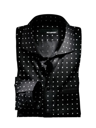Grafik-Hemd schwarz Detail 1