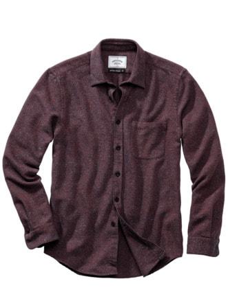 Rude-Hemd Tweed bordeaux Detail 1